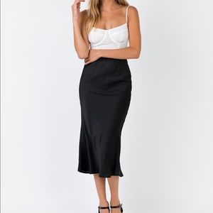 Princess Polly Black Silky Midi Skirt